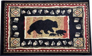 "Dean Black Bear Lodge Cabin Bear Carpet Area Rug Size: 5'3"" x 7'3"""
