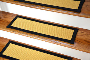 "Dean Non-Slip Tape Free Pet Friendly Stair Gripper Natural Fiber Sisal Carpet Stair Treads - Island Gold/Black 29""W (15)"