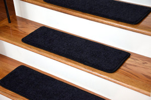 """Dean Serged DIY Carpet Stair Treads 27"""" x 9"""" - Onyx Black PLUSH with Double-Sided Tape Included"""