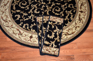 "Dean Premium Carpet Stair Treads - Black Scrollworks - Plus a 5' 3"" Matching Landing Rug"