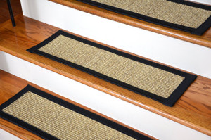 Dean Attachable Non-Skid Sisal Carpet Stair Treads - Desert/Black (Set of 13)