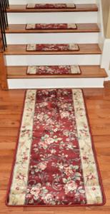 Premium Carpet Stair Treads - Chelsea Garden Red (13) PLUS a Matching 5' Runner