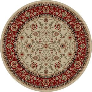"Dean Classic Keshan Antique Beige Oriental Area Rug 7'10"" Round (8')"