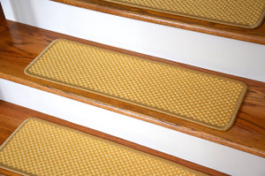 "Dean Non-Slip Tape Free Pet Friendly Stair Gripper Natural Fiber Sisal Carpet Stair Treads - Madagascar Basketweave Tropical Gold 29""W (15)"