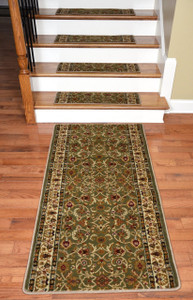 "Dean Premium Carpet Stair Treads - Classic Keshan Sage Green 31""W (13) Plus a 5' Runner"