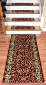 "Dean Premium Carpet Stair Treads - Classic Keshan Claret Red 31""W (13) Plus a 5' Runner"
