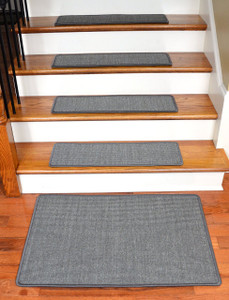 "Dean Non-Slip Tape Free Pet Friendly Stair Gripper Natural Fiber Sisal Carpet Stair Treads - Island Gray 29""W (15) Plus a Matching 2' x 3' Landing Mat"