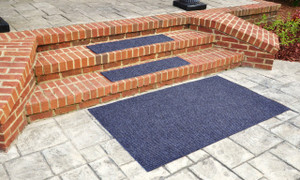 "Dean Indoor/Outdoor Non Skid Stair Treads - Blue 36"" x 9"" (3) PLUS a 3' x 5' Landing Rug"