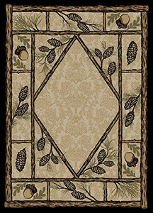 "Dean Brasstown Bald Lodge Cabin Ranch Pine Cone Area Rug 5'3"" x 7'3"""