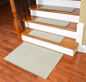 "Dean Non-Slip Tape Free Pet Friendly Stair Gripper Natural Fiber Sisal Carpet Stair Treads - Island Sand 29""W (15) Plus a Matching 2' x 3' Landing Mat"