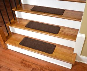 "Dean Premium Stair Gripper Non-Slip Tape Free Pet Friendly DIY Nylon Carpet Stair Treads/Rugs 23"" x 8"" (15) - Color: Hazelnut Brown"