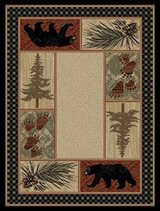 "Dean Cade's Cove Bear Lodge Cabin Wildlife Area Rug 7'10"" x 9'10"" (8x10)"
