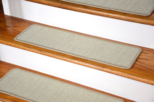 "Dean Non-Slip Tape Free Pet Friendly Stair Gripper Natural Fiber Sisal Carpet Stair Treads - Island Sand 29""W (15)"