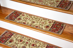 "Dean Non-Slip Tape Free Pet Friendly Stair Gripper Carpet Stair Treads - Classic Keshan Antique Beige 31""W (15)"