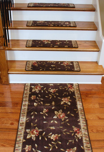 Premium Carpet Stair Treads Chocolate Spring Blossoms