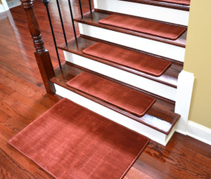 "Dean Premium Non-Skid Carpet Stair Treads - Velvet Red Rug Runners 30"" x 9"" (Set of 15) Plus a Matching 2' x3' Landing Mat"