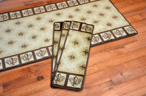 "Dean Premium Carpet Stair Treads - Fleur-De-Lys Beige 31"" x 9"" (Set of 13) Plus a 5' Runner"