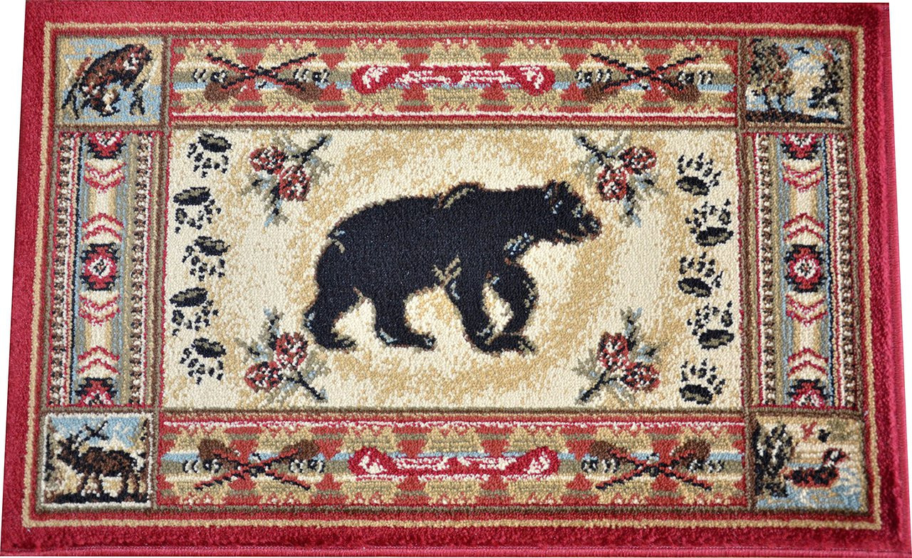 Dean Black And Red Bear Lodge Cabin Bear Panel Area Rug