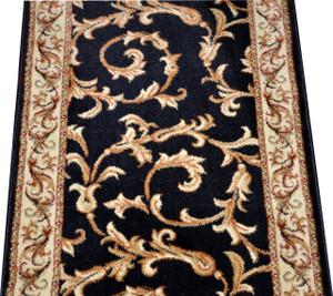 Dean Black Scrollworks Custom Length Carpet Rug Hallway Stair Runner - Purchase by the Linear Foot