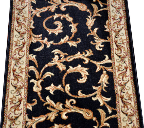 Dean Black Scrollworks Custom Length Carpet Rug Hallway