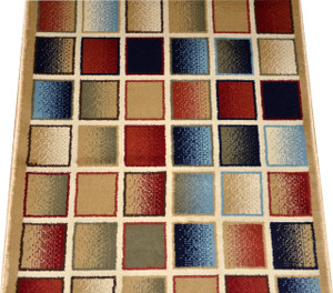 Dean Checkerboard Carpet Rug Hallway Stair Runner - Purchase by the Linear Foot