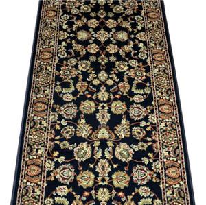 Dean Elegant Keshan Ebony Carpet Rug Hallway Stair Runner - Purchase by the Linear Foot