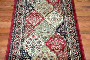 """Dean Panel Kerman Claret 31""""W Carpet Rug Hallway Runner - Purchase by the Linear Foot"""