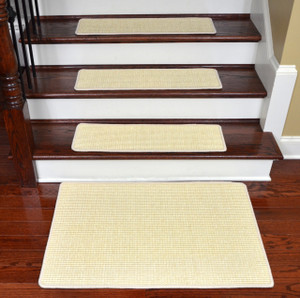 "Dean Non-Slip Tape Free Pet Friendly Stair Gripper Natural Fiber Sisal Carpet Stair Treads - Island Ivory 29""W (15) Plus a Matching 2' x 3' Landing Mat"