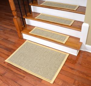 Dean Attachable Non Slip Sisal Carpet Stair Tread Runner Rugs    Desert/Yellow (