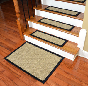 Dean Attachable Non-Skid Sisal Carpet Stair Treads - Desert/Black (Set of 13) Plus a 2' x 3' Mat