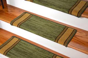 Dean Modern DIY Bullnose Wraparound Non-Skid Carpet Stair Treads - Boxer Green
