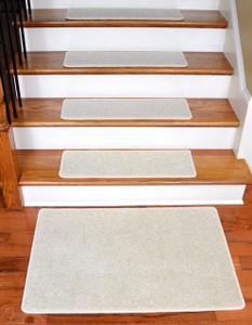 "Dean Carpet Stair Treads 27"" x 9"" Buff Ivory/Beige Plush (13) plus 2' x 3' Mat"