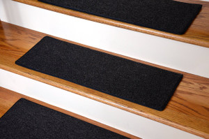 "Dean DIY Carpet Stair Treads 23"" x 8"" - Black - Set of 13 Plus Double-Sided Tape"
