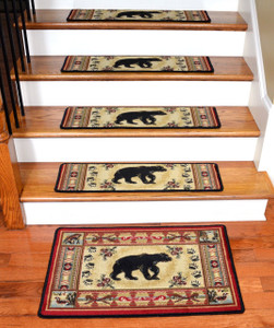 "Dean Premium Carpet Stair Tread Rugs - Black and Red Bear Cabin Lodge 31"" W (13) Plus Landing Mat"