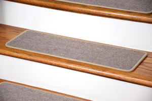 "Dean DIY Peel and Stick Serged Non-Skid Carpet Stair Treads - Beige Suede (13) 27"" x 9"" Runner Rugs"