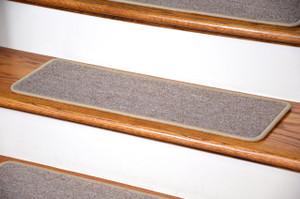 "Dean DIY Peel and Stick Serged Non-Skid Carpet Stair Treads - Beige Suede (13) 27"" x 9"" Runner Rugs"