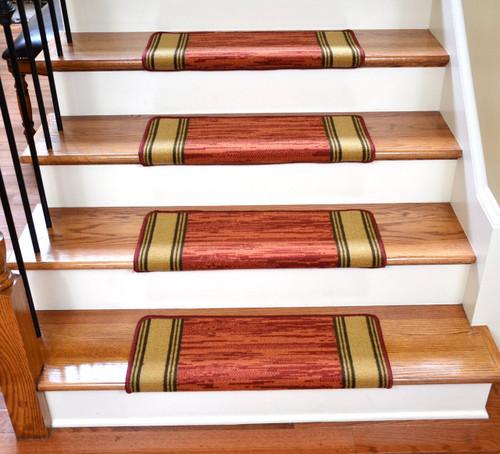 dean modern diy bullnose wraparound non skid carpet stair treads boxer terra cotta - Bullnose Stair Tread