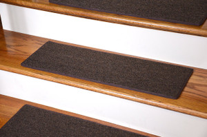 "Dean DIY Carpet Stair Treads 23"" x 8"" - Brown - Set of 13 Plus Double-Sided Tape"