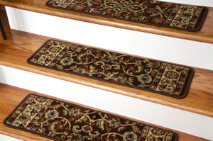 "Dean Premium Carpet Stair Treads - Classic Keshan Chocolate Brown Rug Runners 31""W Set of 13"