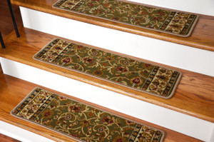 "Dean Premium Carpet Stair Treads - Classic Keshan Sage Green Rug Runners 31""W Set of 13"