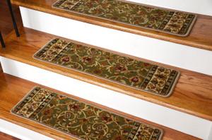 "Dean Premium Carpet Stair Treads - Classic Keshan Sage Green Rug Runners 31""W Set of 13"