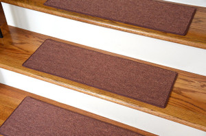 "Dean Non-Slip Tape Free Pet Friendly DIY Carpet Stair Treads/Rugs 27"" x 9"" (15) - Color: Copper"