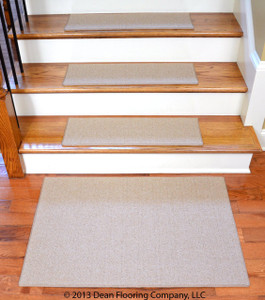 "Dean Non-Slip Tape Free Pet Friendly DIY Carpet Stair Treads/Rugs 27"" x 9"" (15) Plus 2' x 3' Landing Mat - Color: Cream"