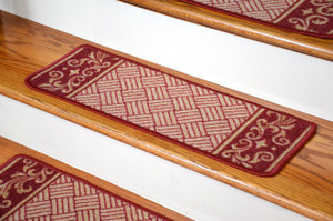 Dean Washable Non-Skid Carpet Stair Treads - Cranberry Scroll Border (Set of 13)