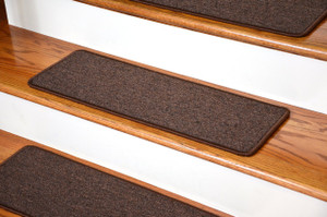 "Dean DIY Peel and Stick Serged Non-Skid Carpet Stair Treads - Dark Brown (13) 27"" x 9"" Runner Rugs"