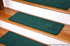 "Dean Carpet Stair Treads 27"" x 9"" Dark Green Plush (Set of 13)"