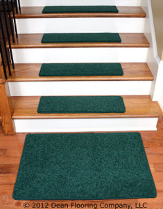 "Dean Carpet Stair Treads 27"" x 9"" - Dark Green PLUSH (13) plus a 2' x 3' Mat"