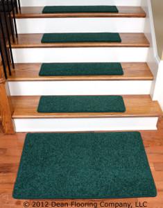 """Dean Carpet Stair Treads 27"""" x 9"""" - Dark Green PLUSH (13) plus a 2' x 3' Mat"""