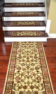 "Dean Premium Carpet Stair Tread Rugs (15) and 5' Runner - Elegant Keshan Antique 31"" W"