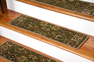 "Dean Premium Carpet Stair Tread Rugs - Elegant Keshan Sage 31"" W Set of 13"